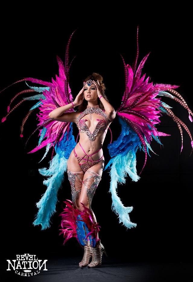 Frontline with Tiara, Backpack, feathered leg pcs, FLine neck pc & wrist pcs. Shown with Wire bra & Gem bikini body option