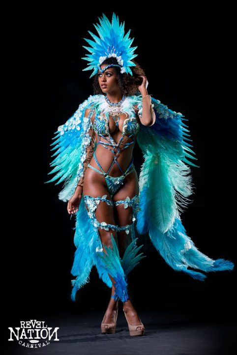 Section leader – Feathered headpiece, backpack, feathered leg pieces, arm pcs & necklace. Shown with wire bra and gen bikini body option